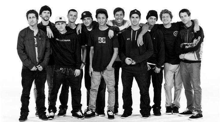 DC skate team: Steve Berra  Chris Cole  Rob Dyrdek  Colin McKay  Josh Kalis  Nyjah Huston  Mikey Taylor  Mike Mo  Matt Miller  Wes Kremer  Danny Way                          Evan Smith. Super cute!