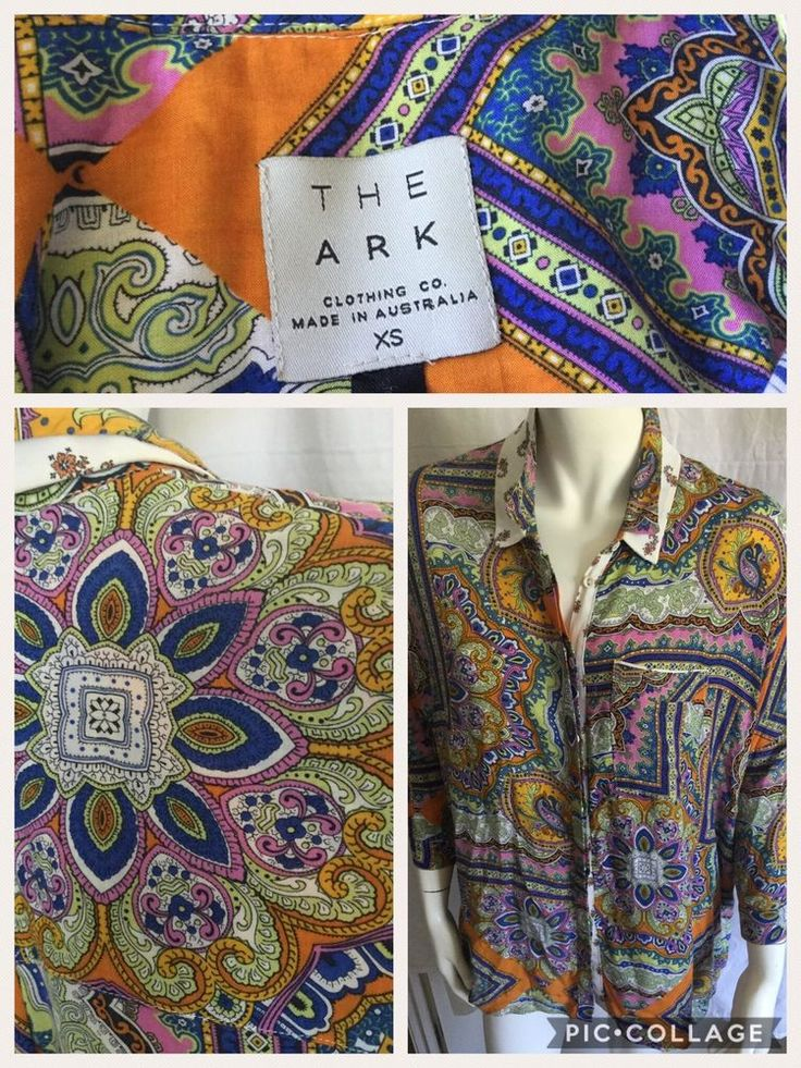 """The Ark Clothing Co. Relaxed Fit. High Low. Sleeve length approx 48cm (19"""") - sleeve is not such a relaxed fit. With Bright Pink Orange Blues and greens. Stunning Paisley pattern. Size XS (but fits me and I am a size 14!). 