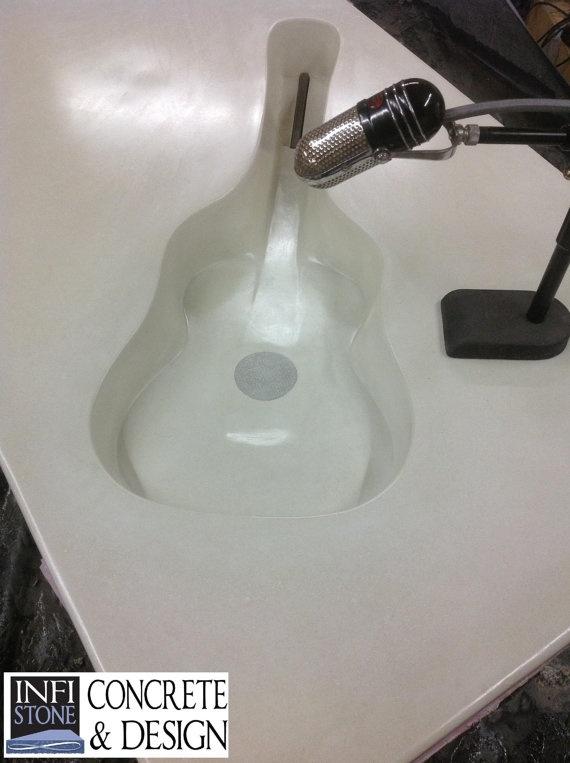 Bathroom Vanities Etsy concrete bathroom vanity countertop with integral guitar sink