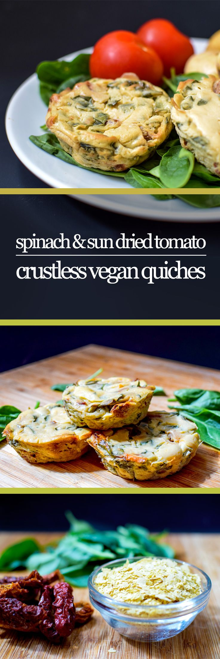 Perfect lunchbox fillers or finger food for picnics - these vegan, gluten free crustless mini quiches are packed with flavour from sun dried tomatoes, and protein from simple blended silken tofu!