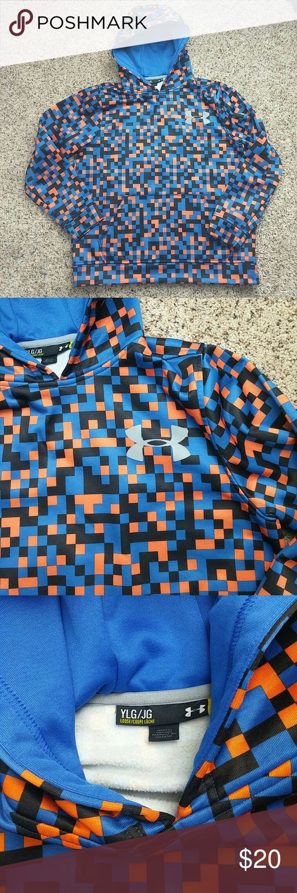 Under Armer boys Large hoodie In very good condition. Orange amd blue. Under Armour Jackets & Coats