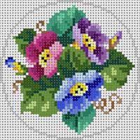 Kanaviçe çiçek mini tablo
