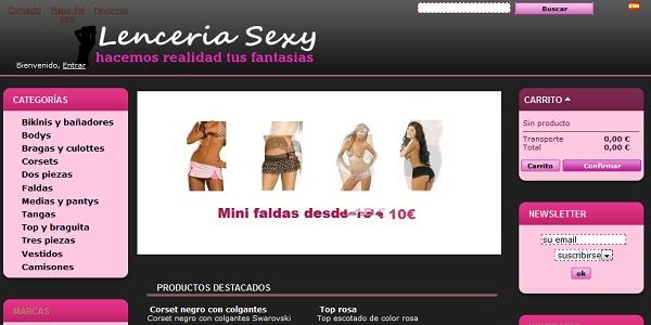 Realización de tienda de ropa de mujer Lenceria Sexy