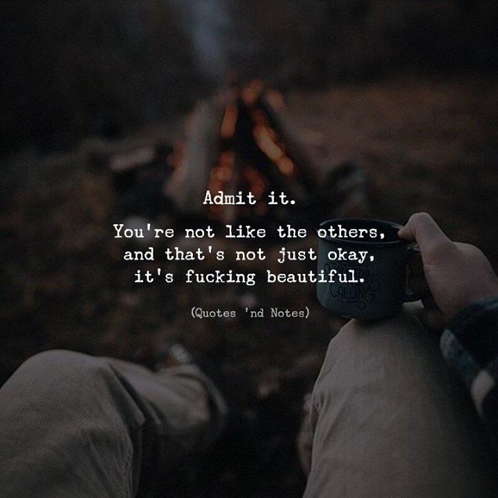 Admit it. Youre not like the others and thats not just okay its fucking beautiful. via (http://ift.tt/2Cg6Biz)