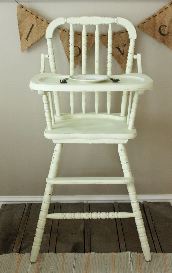 Vintage Painted 1950 S High Chair Jenny Lind Spindle Style