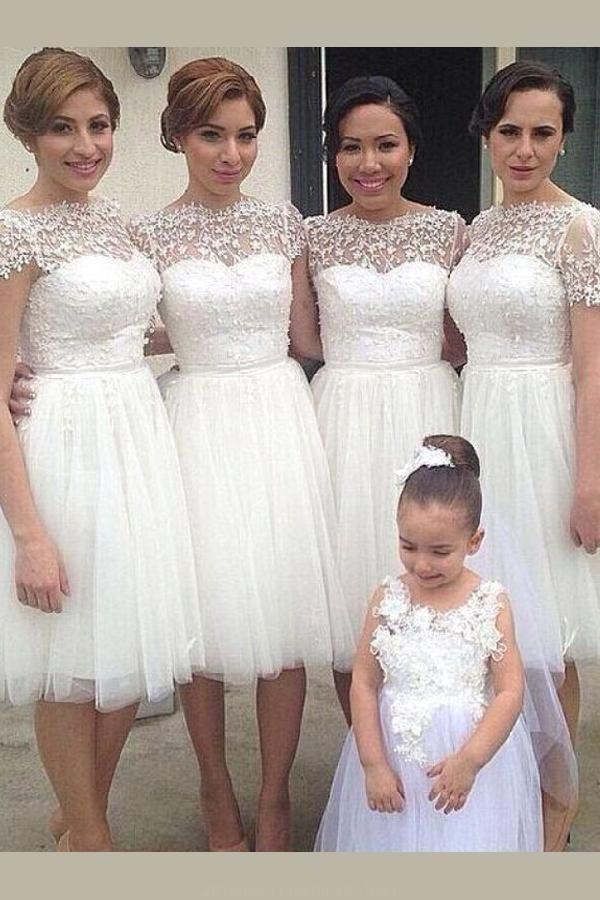 Appliques Bridesmaid Dress Simple Bridesmaid Dress White Bridesmaid Dress Bri Short Bridesmaid Dresses Lace Bridesmaid Dresses Short Lace Bridesmaid Dresses