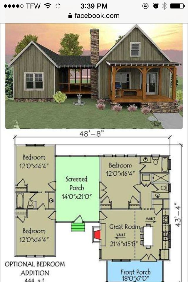 Perfect Tiny House For Mom Minus The Additional 2 Bedroom Section Off Screened In Porch This Unique Vacation Plan Has A Layout With