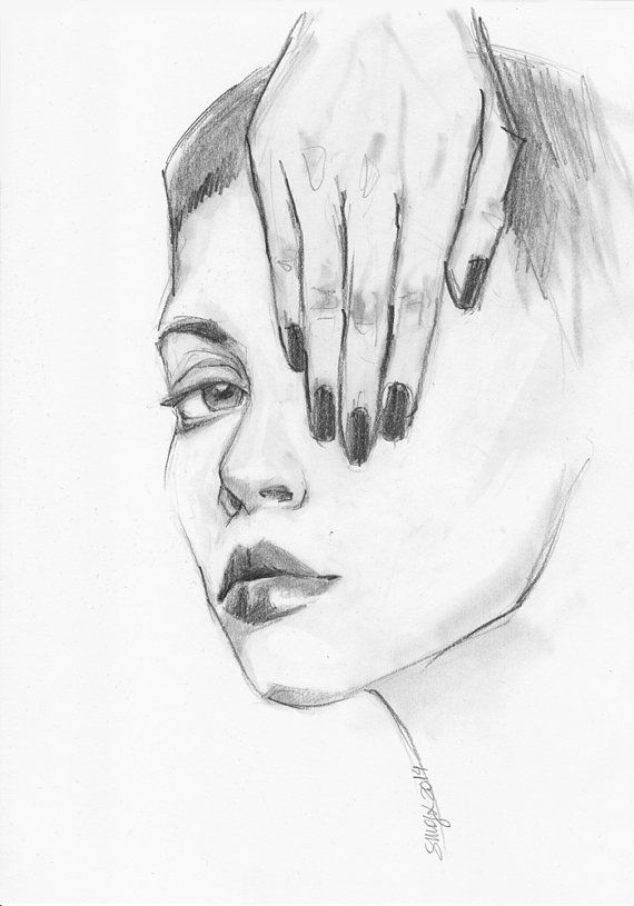 Original Grafite Drawing  Girl Covering Her Eye with by Smogartist, £20.00