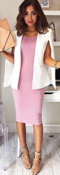 #fall #work #outfits | White 'Take Over Blazer + Pink 'Take It Up' Dress