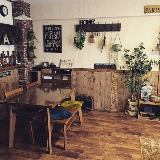 malco-yanさんの、Overview,DIY,手作り雑貨,リメイク,クッションフロア,ニトリのフェイクグリーン,レンガ壁紙,壁紙屋本舗,いなざうるす屋さん,板壁DIY,友人とmalcoで活動してます♡,インスタ→malco_yanについての部屋写真