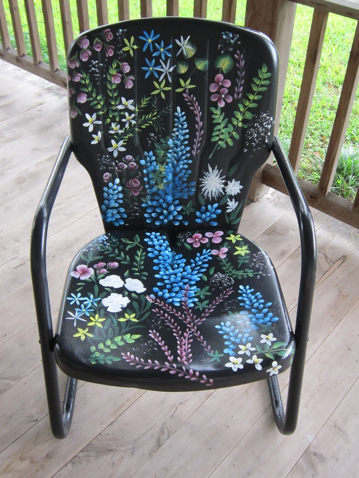 Love the cool paint job on this metal lawn chair! Visit the artist: http://www.gofundme.com/229pmg