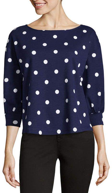 1782b7a5dc6c8 LIZ CLAIBORNE Liz Claiborne 3 4 Sleeve Round Neck Stripe T-Shirt-Womens