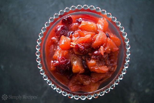Sweet and tangy chutney with apples, cranberries, onion, vinegar, sugar, orange zest, and ginger.