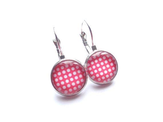 Polka Dot Earrings Red Earrings Metal Earrings by BijouxMariePuce