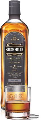 BUSHMILLS 21 YEAR OLD SINGLE MALT BOTTLE PLUS BUSHMILLS 21 YEAR-OLD SINGLE MALT DRINK