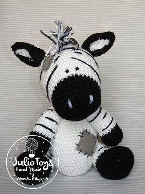 Crochet Zebra like a Chip the Zebra. Blue Nose Friends. Crochet PDF pattern.