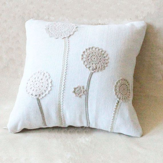 Country chic 13x13 cushion made of antique hand loomed fabric and vintage doily- decorative accent pillow