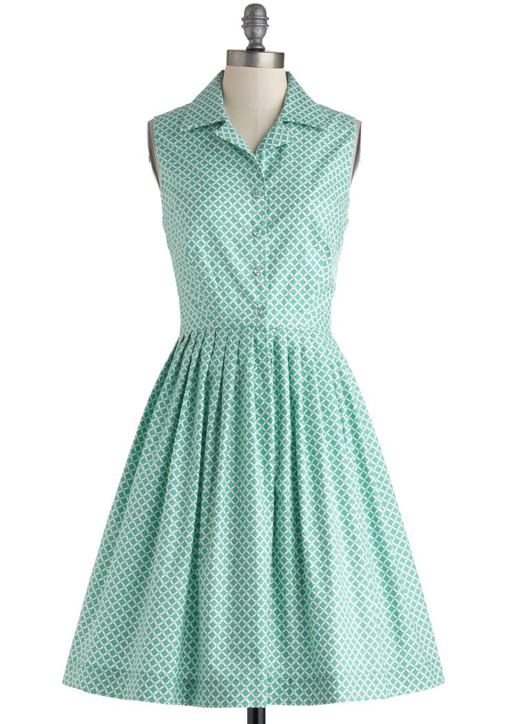 Budding Author Dress - Exclusives, Long, Blue, White, Print, Buttons, Casual, Vintage Inspired, A-line, Sleeveless, Collared, 50s, Spring