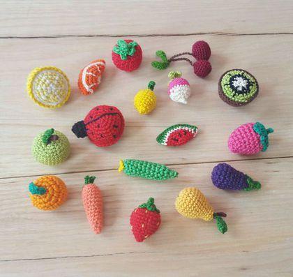 Еда ручной работы. Мини вязаные крючком фрукты и овощи. Амигуруми. MIMI-TOYS. Интернет-магазин Ярмарка Мастеров. Фрукты