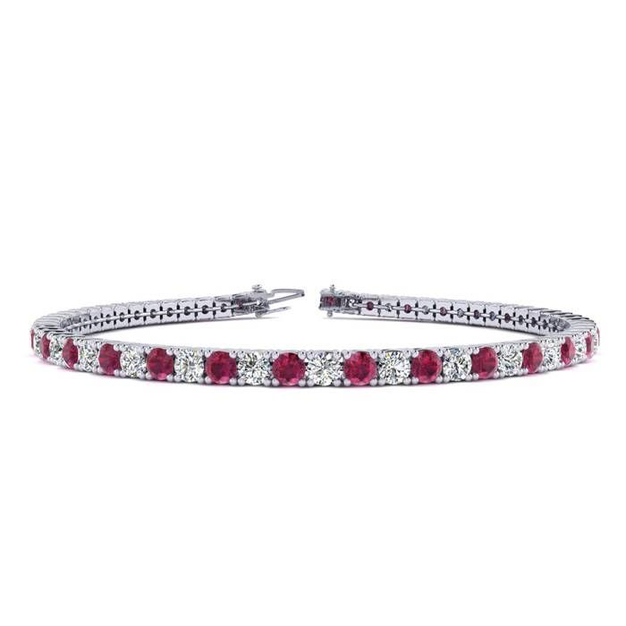 8 5 Inch 5 1 2 Carat Ruby And Diamond Tennis Bracelet In 14k White Gold Tennis Bracelet Diamond Ruby Bracelet Tennis Bracelet