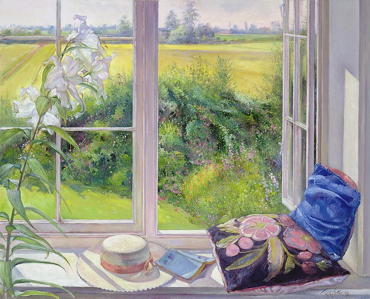 Window Seat And Lily Painting by Timothy Easton