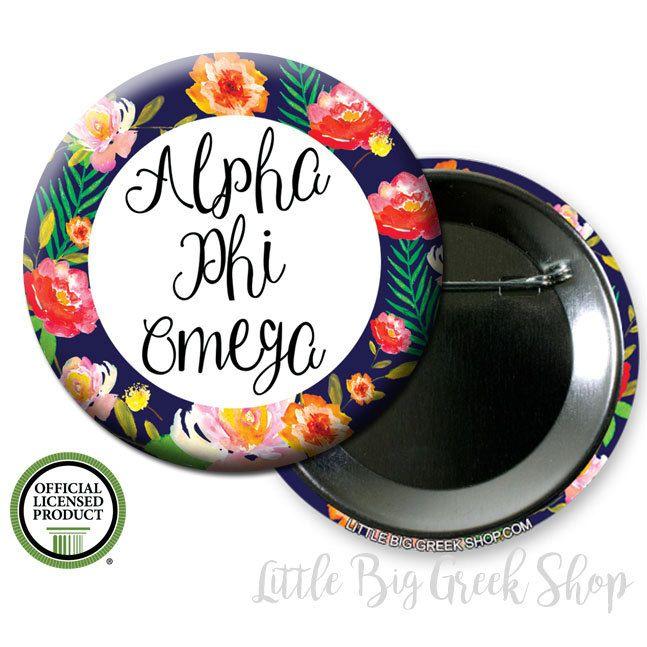 "Alpha Phi Omega APO Floral Single or Bulk 2.25"" Pinback Button by LittleBigGreekShop on Etsy"