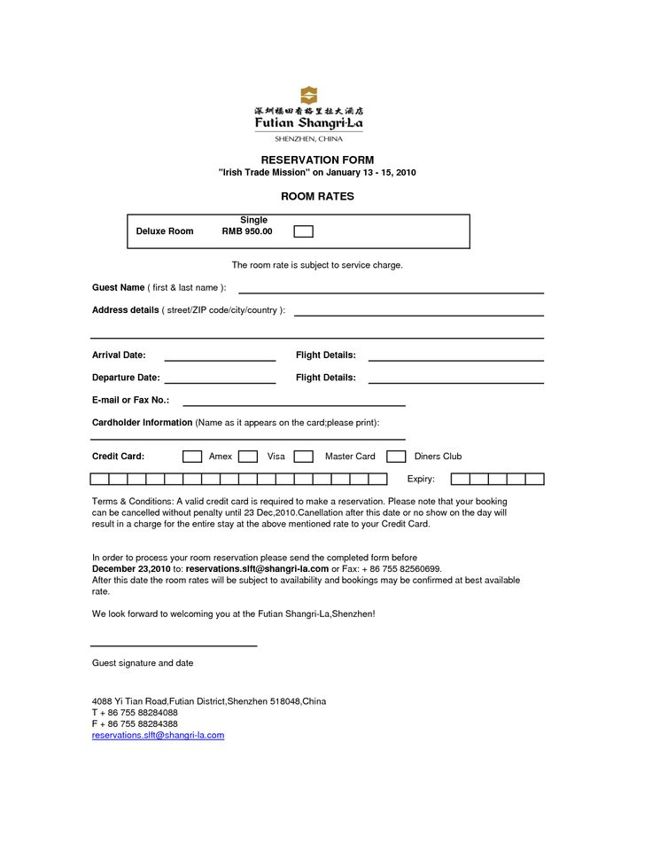 Sample Form. Hotel Guest Registration Form Sample - Google Search ...