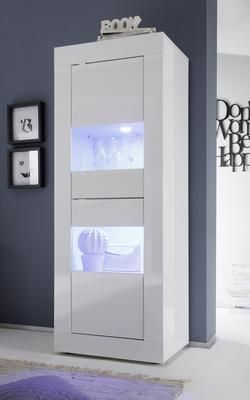 Best Basic Collection Two Door Display Vitrine Gloss White with Two LED Spot