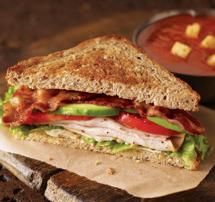 Uptown Turkey Sandwich with Roasted Tomato Basil Soup. Classic. from @Corner Bakery Cafe - just 550 calories!