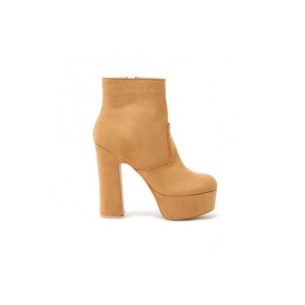 Carbon Stitch Detail Platform Ankle Boots in Light Tan Faux Suede (78 CAD) ❤ liked on Polyvore featuring shoes, boots, ankle booties, block heel ankle boots, short boots, tan booties, platform boots and tan ankle boots