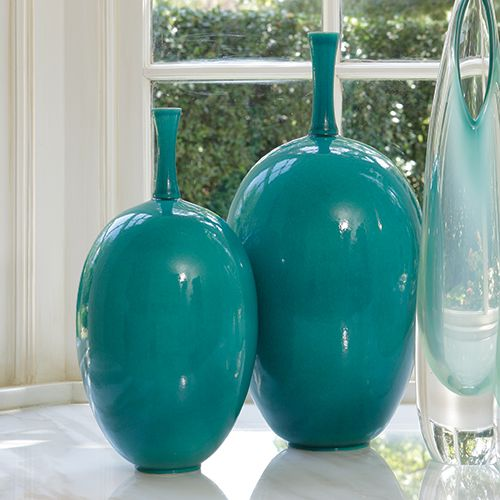 Sea Blue Ovoid Vases Sharing Beautiful Designer Home Decor Inspirations Luxury Living Room