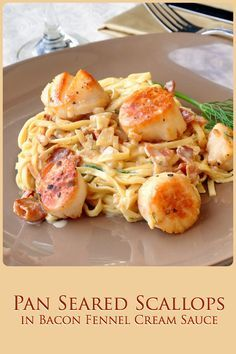 Pan Seared Scallops with Bacon Fennel Cream Sauce - The most popular pan seared scallops recipe ever on Rock Recipes. Folks just love the luscious bacon cream sauce. A terrific, easy dinner party recipe or just as a great romantic dinner for two.
