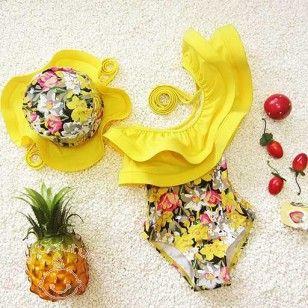 Stylish Yellow Floral One Shoulder #Kids #Swimwear
