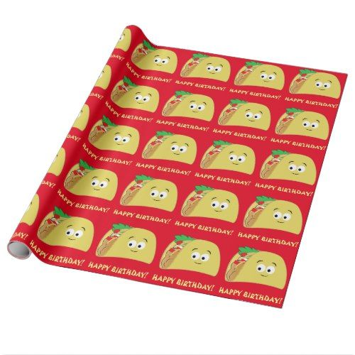 Taco Cartoon Happy Birthday Wrapping Paper