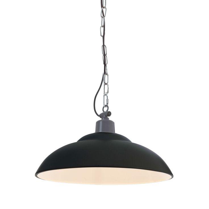 Lampada da sospensione con catenella in stile vintage industriale. In metallo, colore bianco o nero a scelta. Lunghezza del cavo: 2m. Lampadina non inclusa.