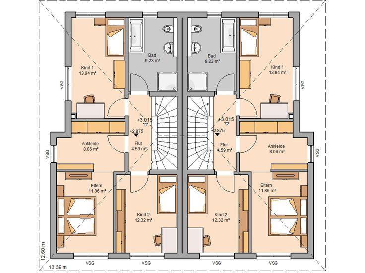 doppelhaus grundriss mit arbeitszimmer haus design und m bel ideen. Black Bedroom Furniture Sets. Home Design Ideas