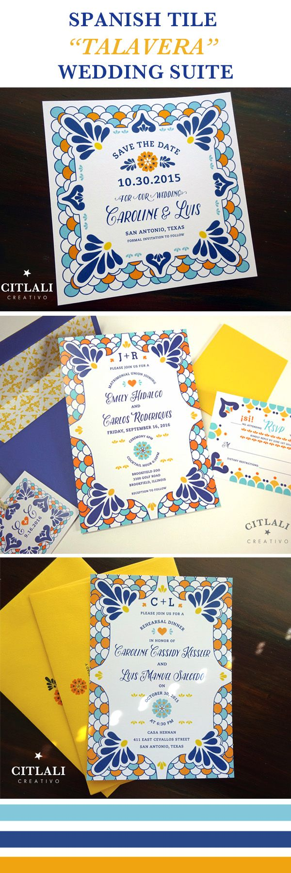 Talavera Wedding Suite - Spanish Tile Invitations & Save the dates - citlalicreativo.com