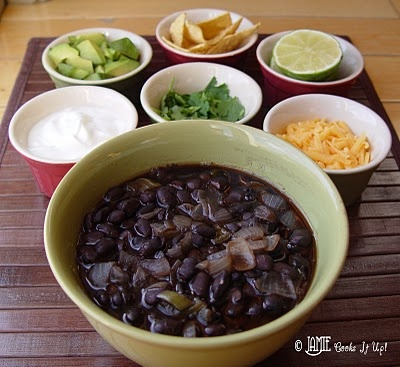 Loaded Black Bean Soup: I won't be making this again. It takes 3 hours to prepare and cook, and F didn't even like it very much.
