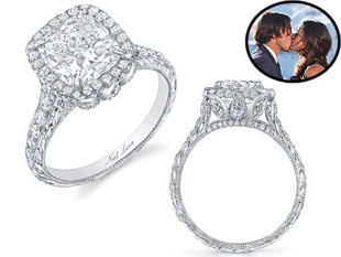 'Bachelor' Ben Flajnick's fiance's  ring was designed by Neil Lane and features a cushion-cut, 3-plus-carat diamond accented by 96 round-cut diamonds, with the whole thing set in platinum. Likin' or lovin'?