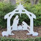 teak isle outdoor nativity set ~ my favorite christmas decoration ~ love this american made product and the story of the company...made with marine grade plastic that looks like wood