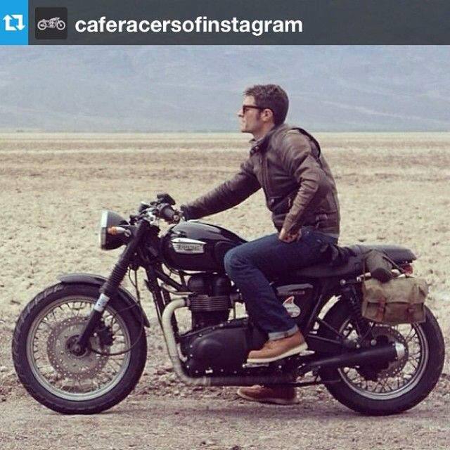 """Repost from @caferacersofinstagram. #independence @bloodbrothersinc enjoying the the road less traveled. These guys take vintage French military bags and…"""