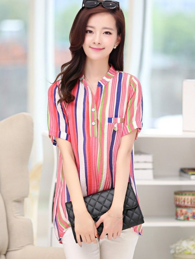 2015 summer stripe top, cotton short sleeve tops, stripe T-shirt, stripe tops, YRB tops, korean fashion store, asian clothing online, fashion korea, asian clothing uk, korean fashion in europe