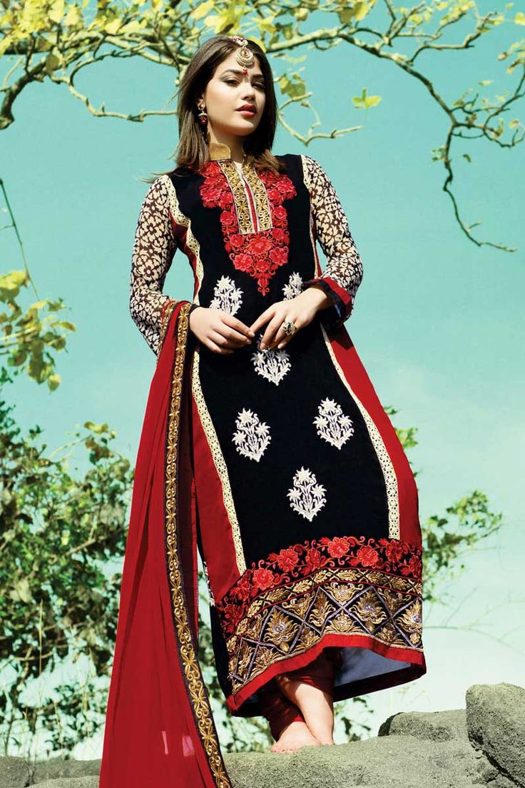 Black and maroon Georgette Churidar Suit With Dupatta Black and maroon Georgette, semi stictch churidar suit. Allover embroidered with embroidered and zari work.  Collar neck kameez, Below knee length, full sleeves kameez.   Maroon and red santoon churidar.   Maroon chiffon dupatta with lace border with work.  Product are available in 34,36,38,40 sizes. It is perfect for casual wear, festival wear, party wear and wedding wear.  Work of embroidary,haeavy zari,lace border plus embroidery…