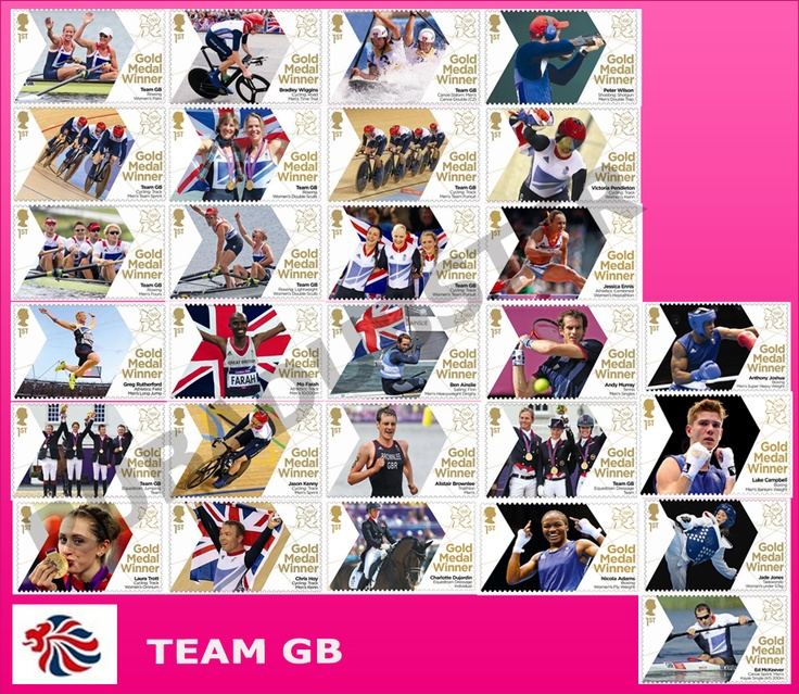 Team GB Olympic Gold medal stamps