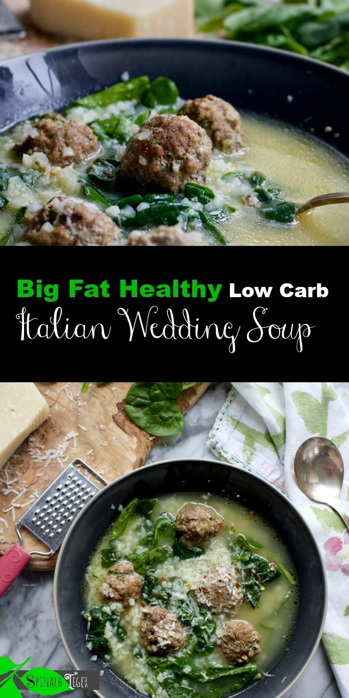 Big fat Healthy Low Carb Italian Wedding Soup with Prosciutto Meatballs (keto, paleo) from Spinach Tiger