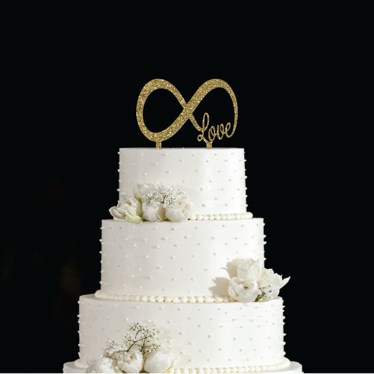 Love Infinity Gold Wedding Cake Topper