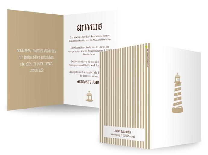KartenEden Kommunion/Konfirmation Einladung Leuchtturm Mit Weitem Blick,  Von Gott Behütet Und Besschützt Durchs