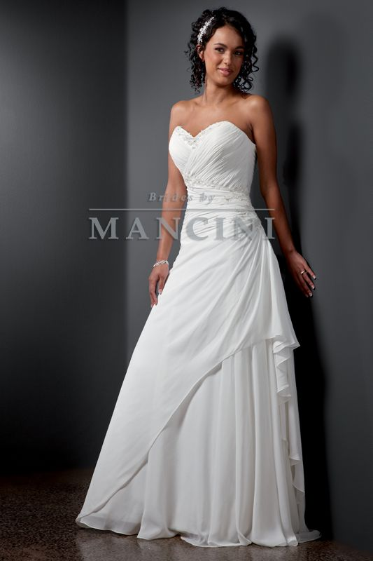 Wedding dress | Bridal gown | Brides by Mancini | Style Capri | Delicate ruching and softness are the features of this lovely chiffon gown with fine detailed lace and beading at the neckline and left hip.