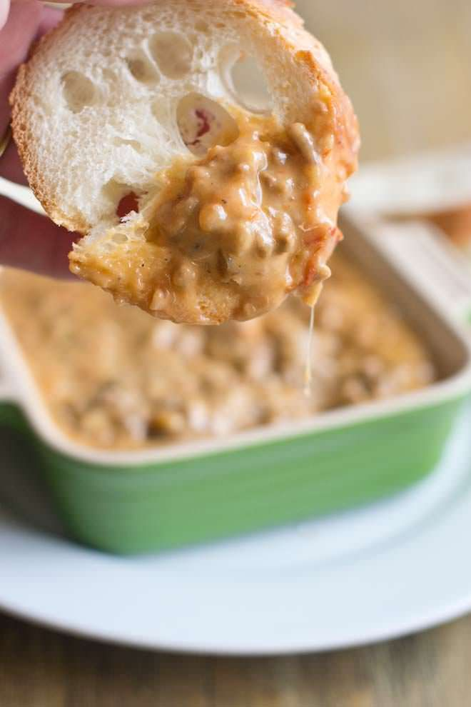 Ooey Gooey Hamburger Dip that doesn't use processed cheese.