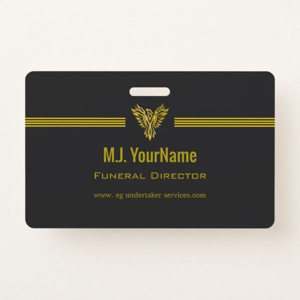 Funeral Director gold stripes and rising phoenix Badge Custom office supplies #business #logo #branding